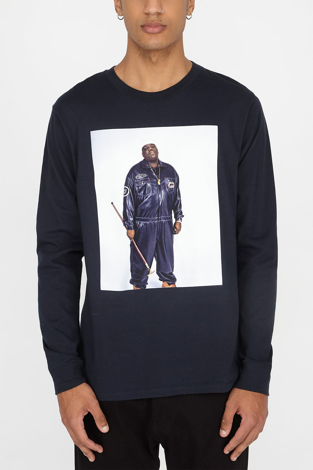 Mens Biggie Photo Long Sleeves Navy