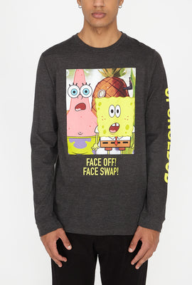 Mens Spongebob Face Swap Long Sleeve Top