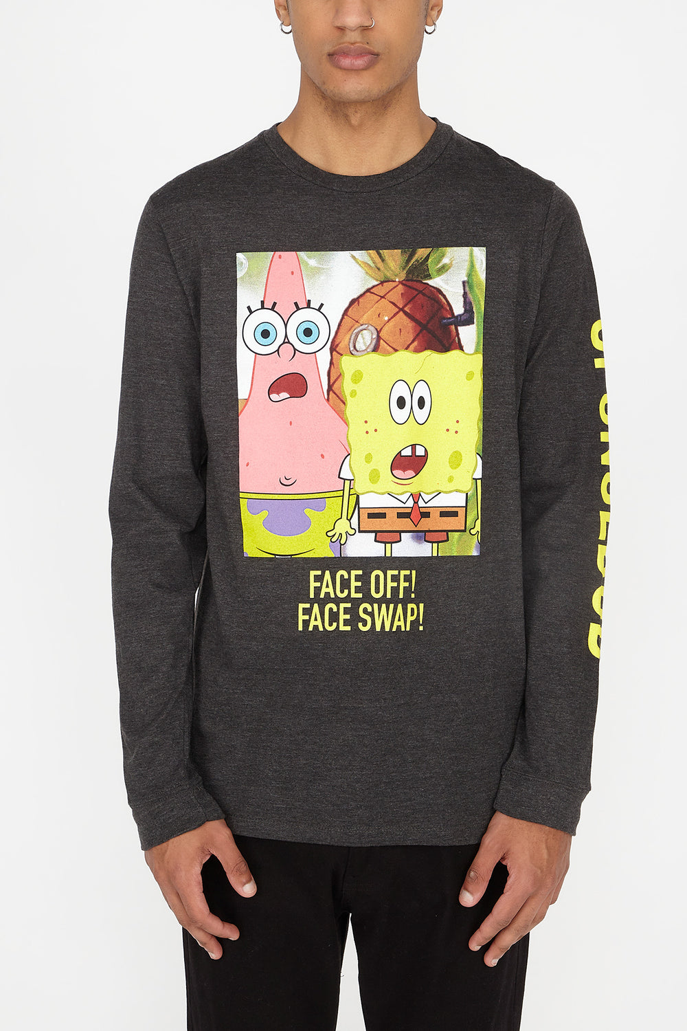 Mens Spongebob Face Swap Long Sleeves Charcoal