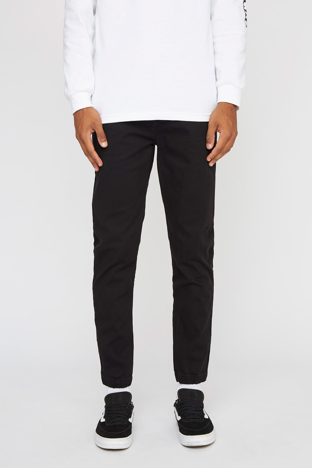 West49 Mens Solid Twill Jogger Black