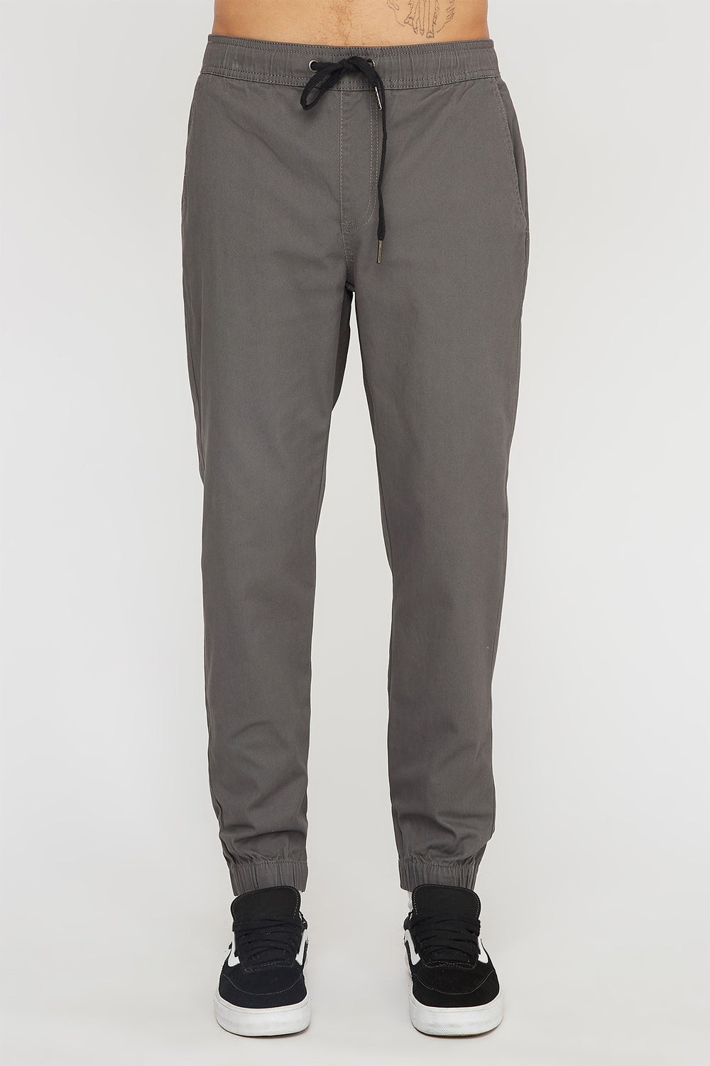 West49 Mens Solid Twill Jogger Dark Grey