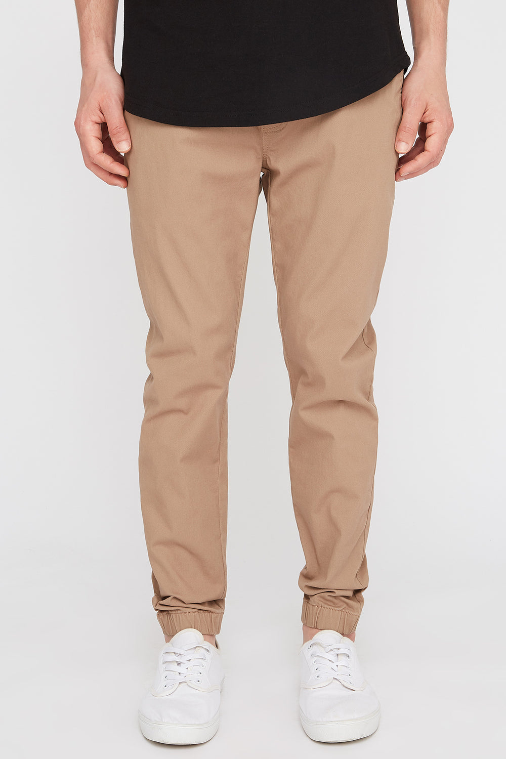 West49 Mens Solid Twill Jogger Sand
