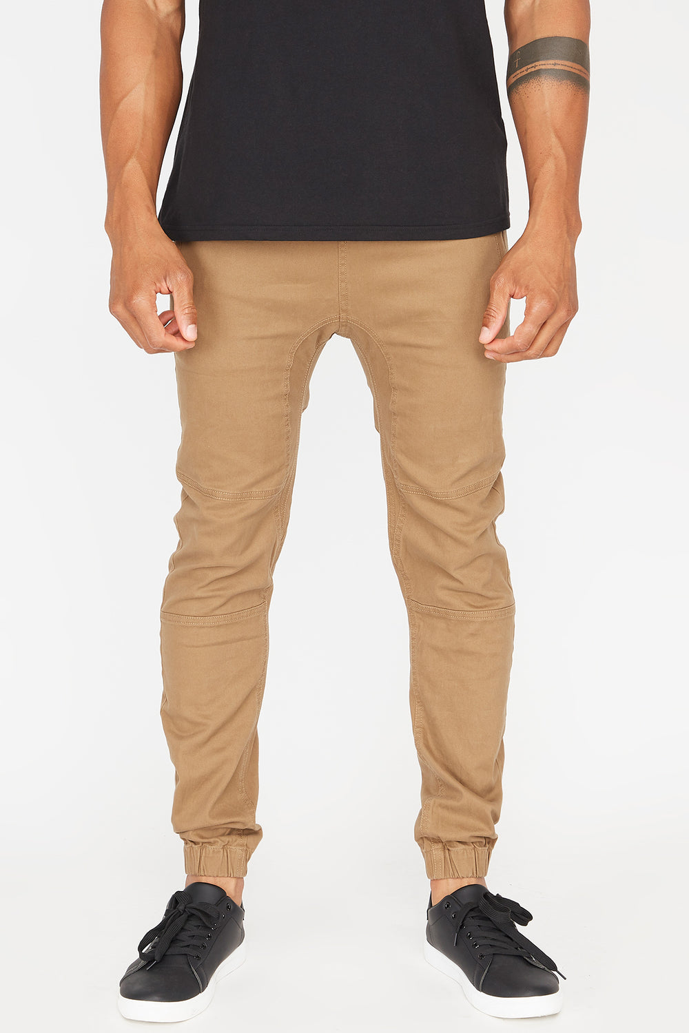 Zoo York Mens Solid Twill Zip Jogger Camel