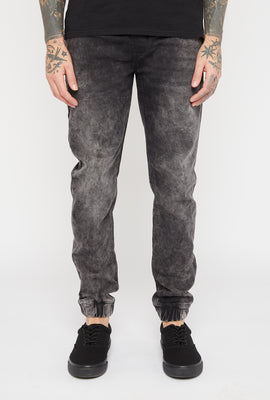 Mens Black Acid Wash Denim Jogger