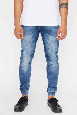 West49 Mens Acid Wash Denim Jogger