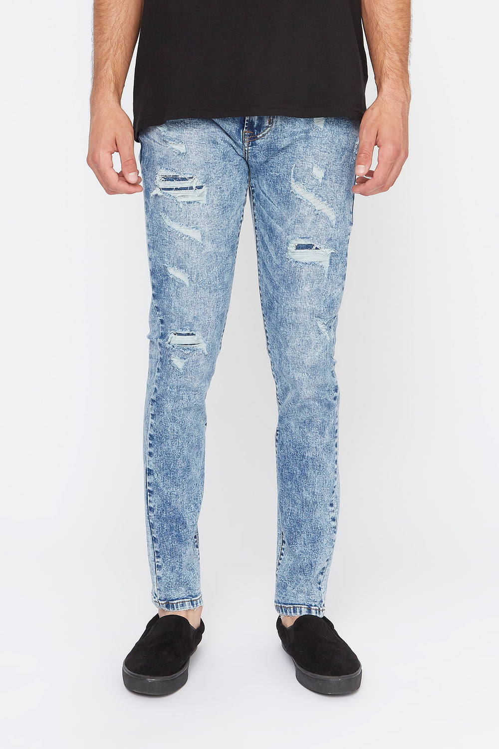 Zoo York Mens Acid Wash Stretch Skinny Jeans Light Denim Blue