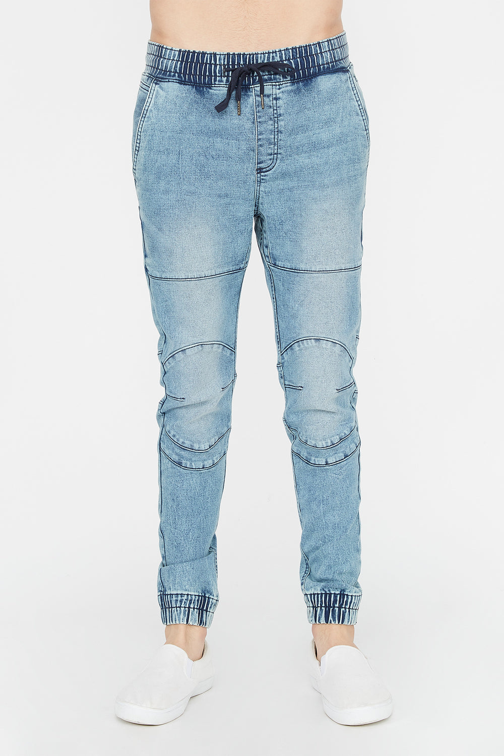 Zoo York Mens Denim Moto Jogger Light Denim Blue