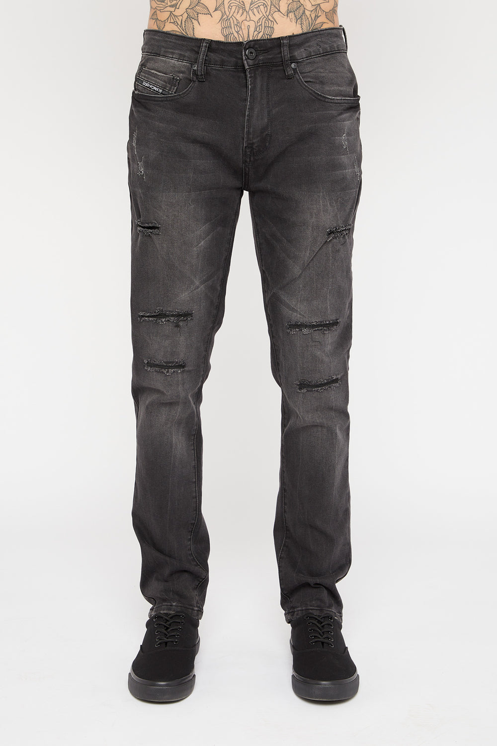 Jeans Filiforme d'Aspect Usé Zoo York Homme Noir Total