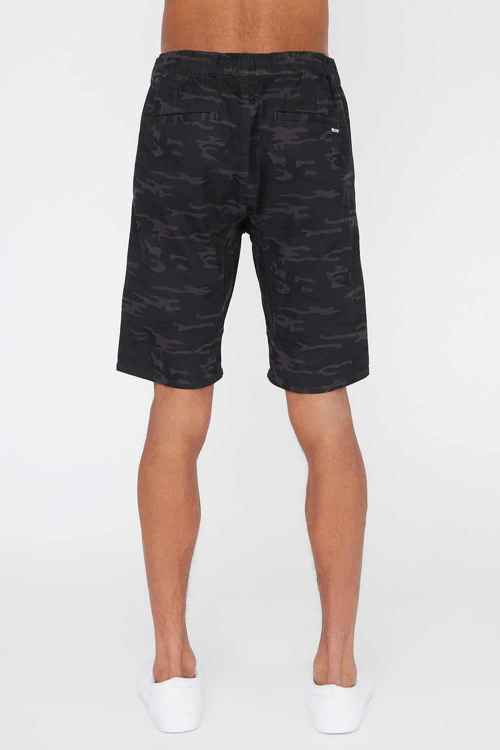West49 Mens Camo Jogger Short Black with White