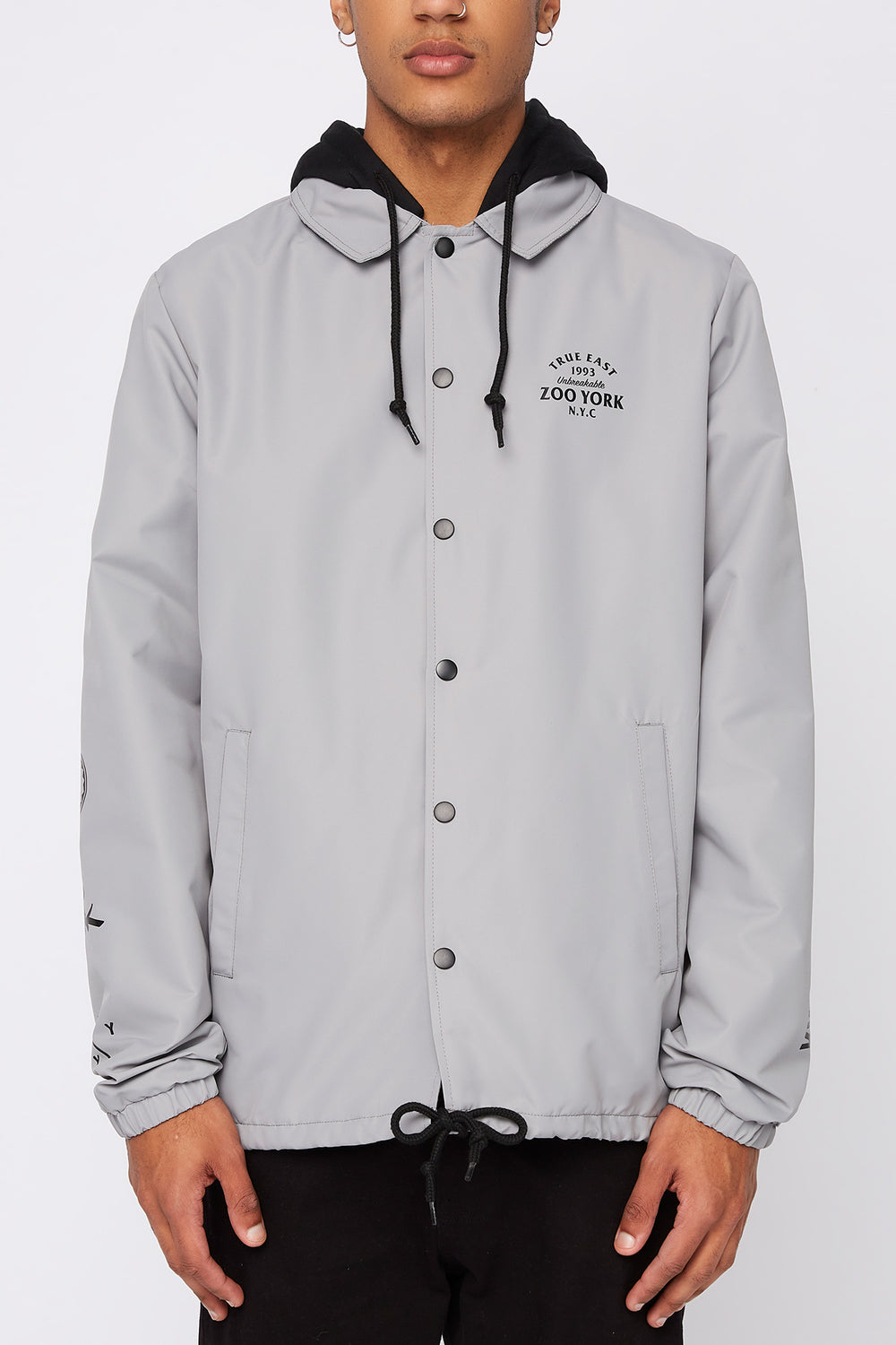 Zoo York Mens Snap-Button Hooded Jacket Light Grey