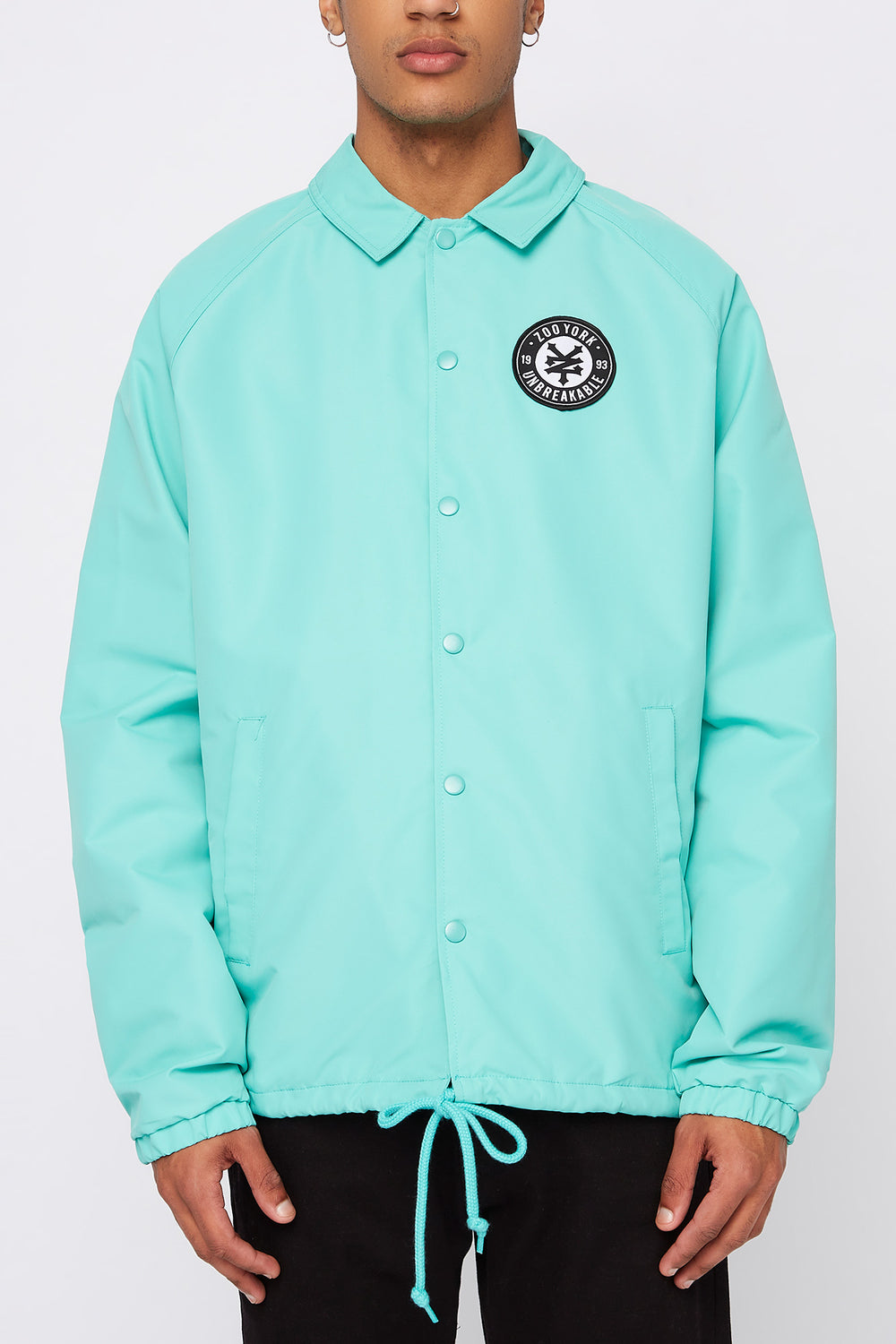 Zoo York Mens Patch Logo Coach Jacket Turquoise