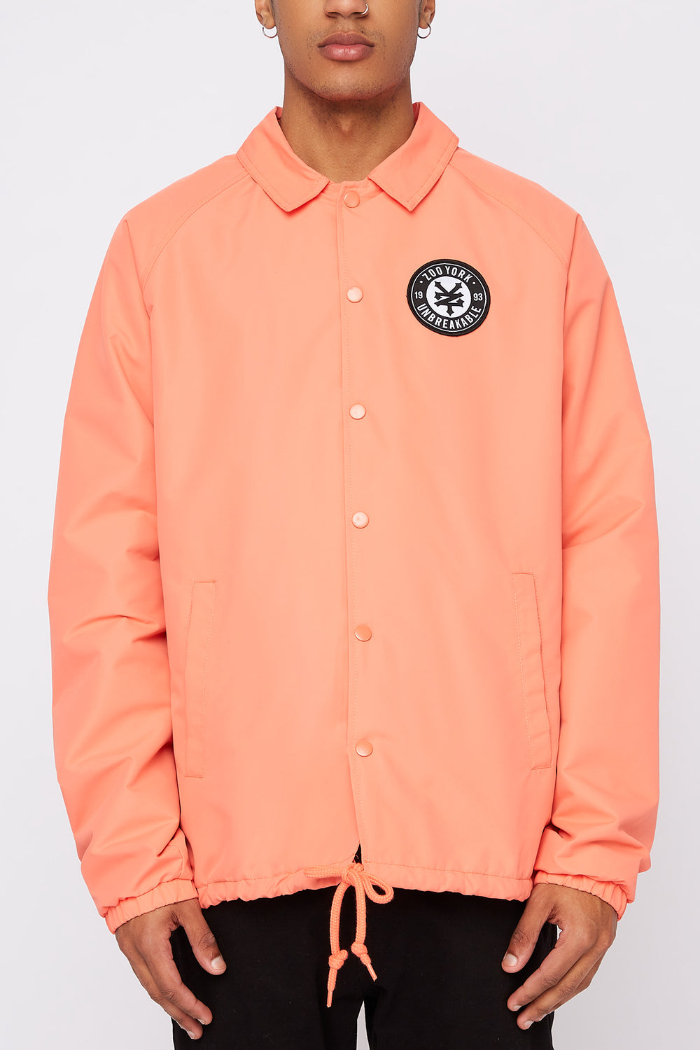 Zoo York Mens Patch Logo Coach Jacket Coral