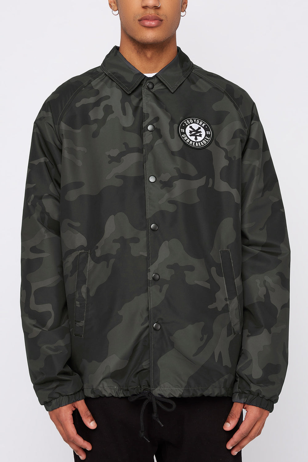 Zoo York Mens Patch Logo Coach Jacket Black with White