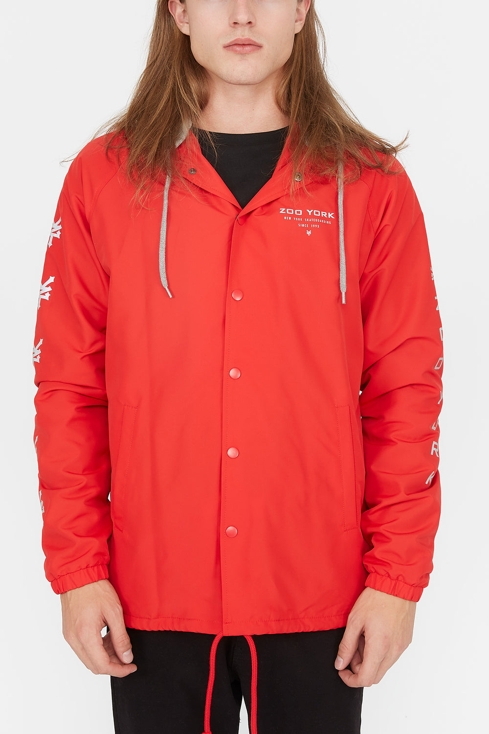 Zoo York Mens Reflective Print Coach Jacket Red