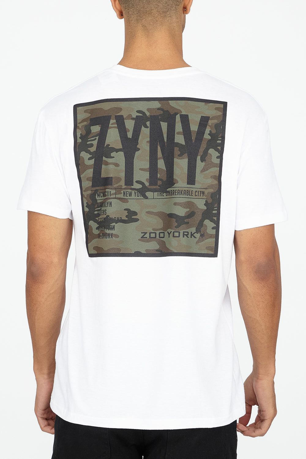 T-Shirt Logo Camouflage Zoo York Homme Blanc