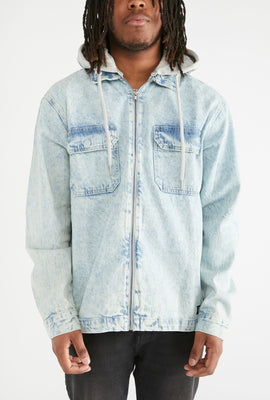 Zoo York Mens Denim Jacket With Fleece Hood