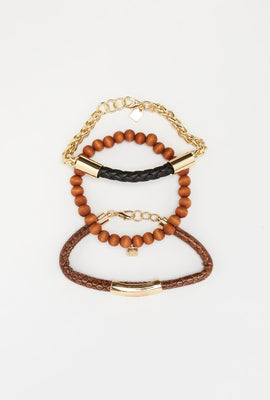 Zoo York Mens Brown and Gold Tone Bracelets (3-Pack)
