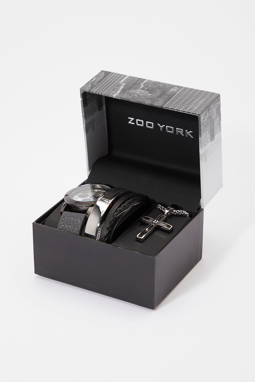 Zoo York Mens Faux Leather Watch Set Silver