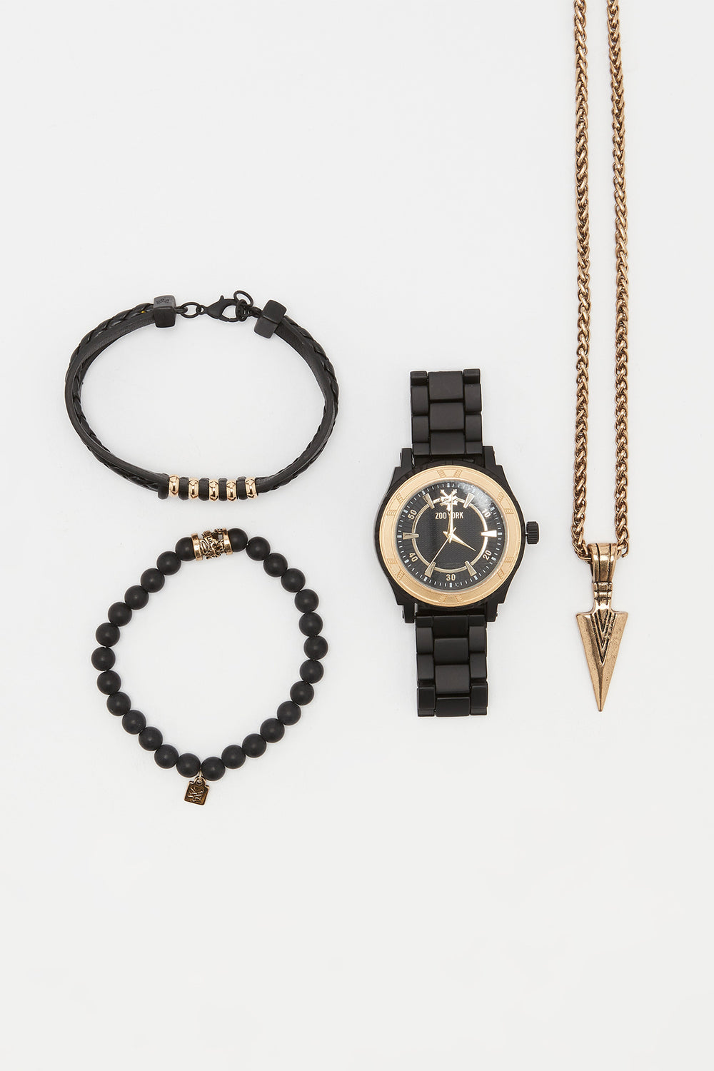 Zoo York Mens Matte Black and Gold Tone Watch Black