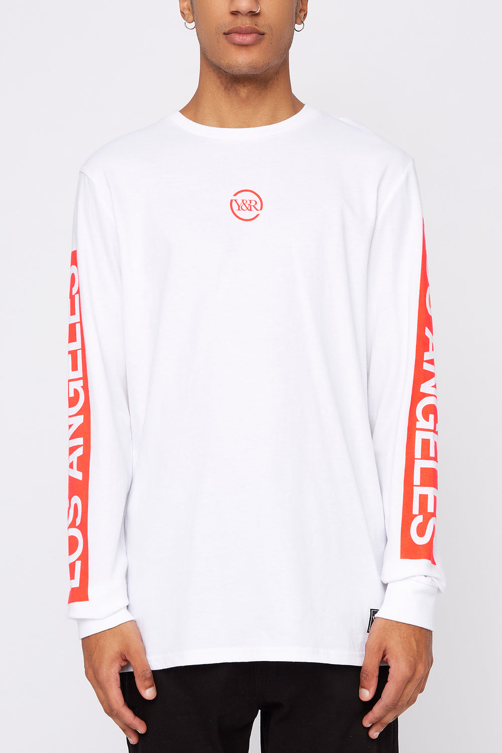 Young & Reckless Mens Neon Logo Long Sleeve Shirt White