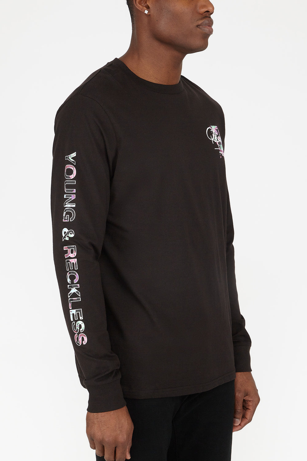 Young & Reckless Mens Neon Leaves Long Sleeves Black