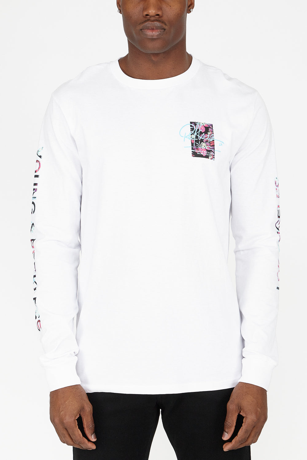 Young & Reckless Mens Neon Leaves Long Sleeves White