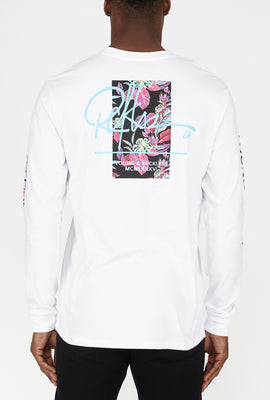 T-Shirt à Manches Longues Floral Fluo Young & Reckless Homme