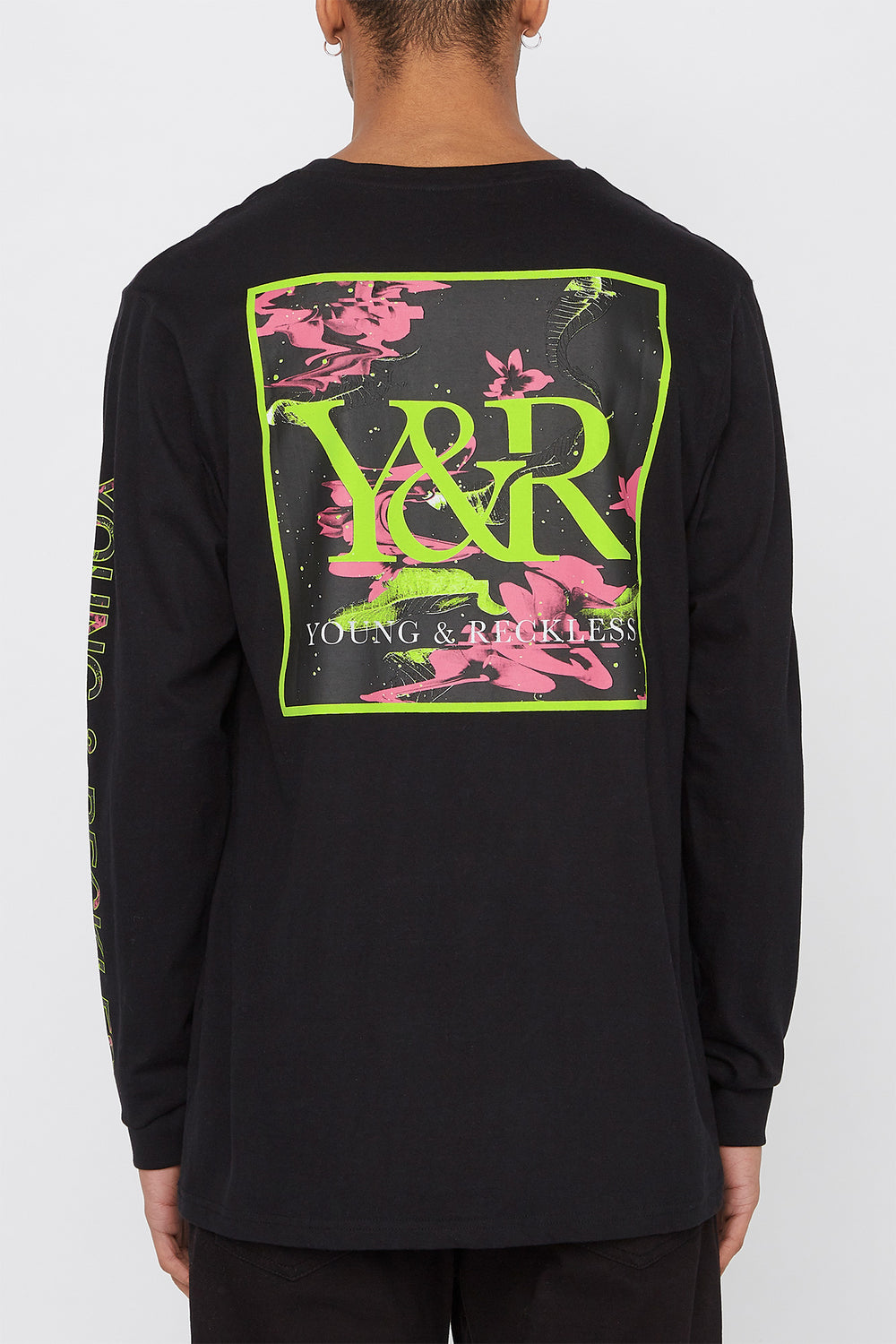 Young & Reckless Mens Electric Floral Long Sleeve Black