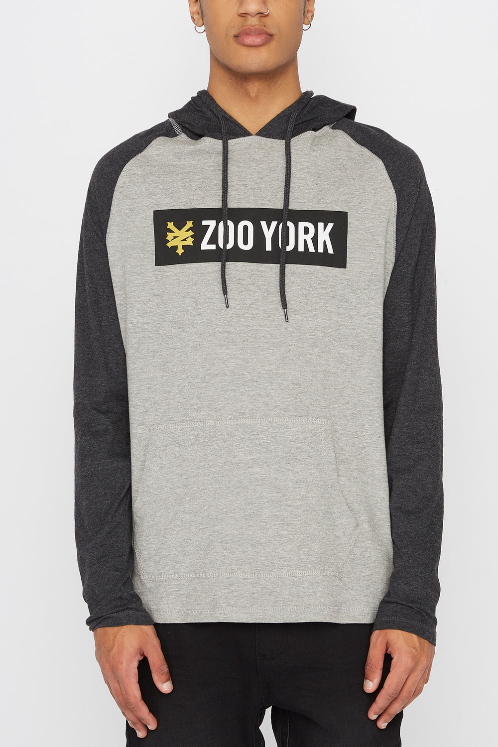 Zoo York Mens Hooded Long Sleeve Shirt Heather Grey
