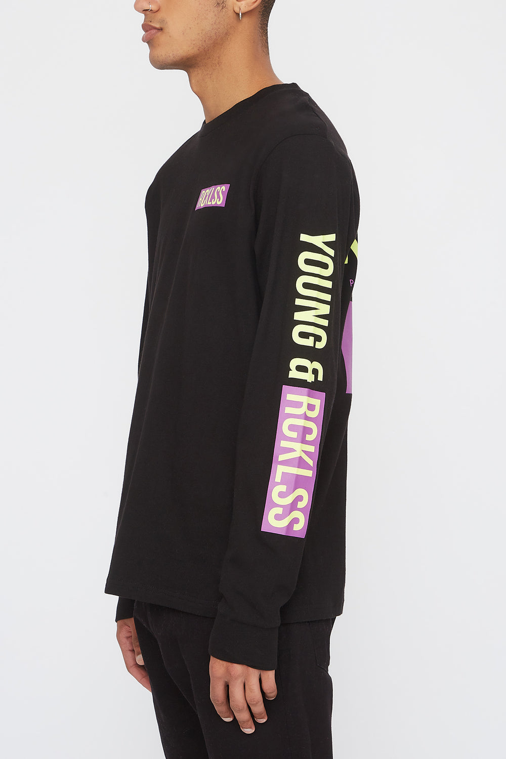 Young & Reckless Mens Neon Logos Long Sleeve Shirt Black