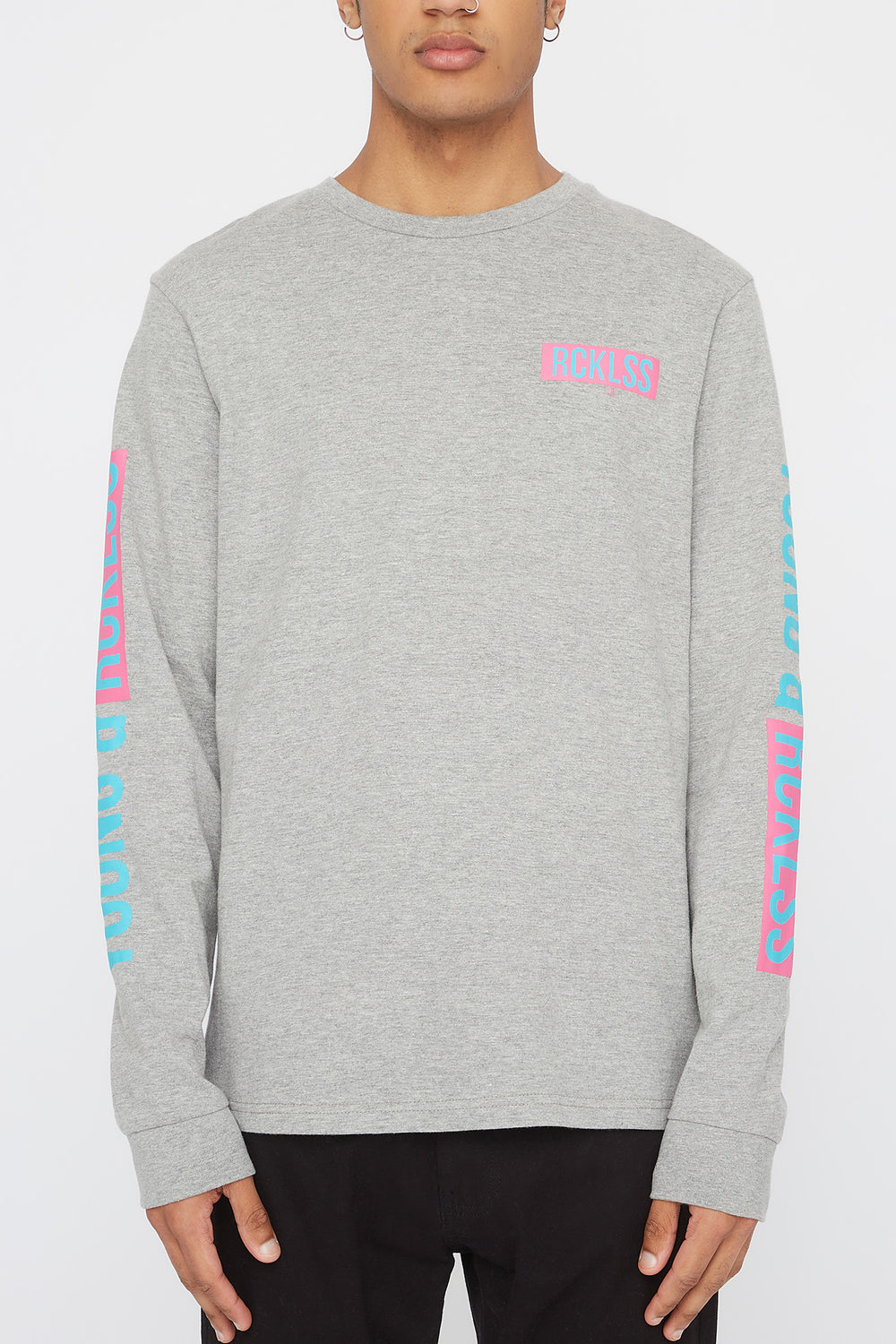 Young & Reckless Mens Neon Logos Long Sleeve Shirt Heather Grey