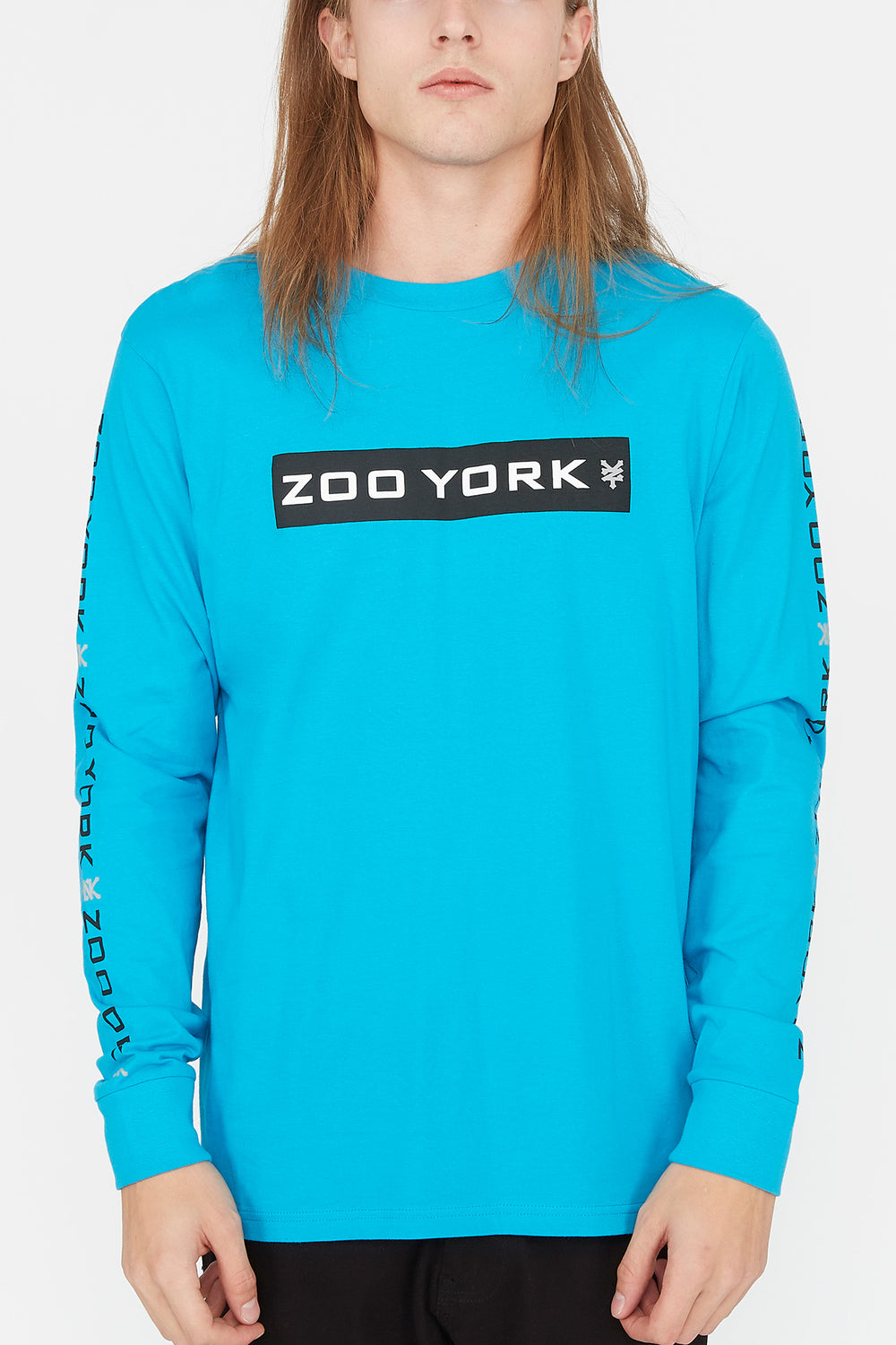 Zoo York Mens Box Logo Long Sleeve Ocean Blue