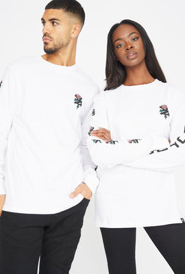 Zoo York Unisex Rose Logo White Long Sleeves