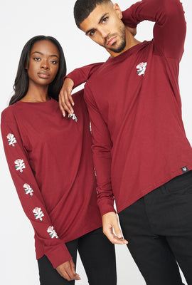 Zoo York Unisex Rose Logo Burgundy Long Sleeves