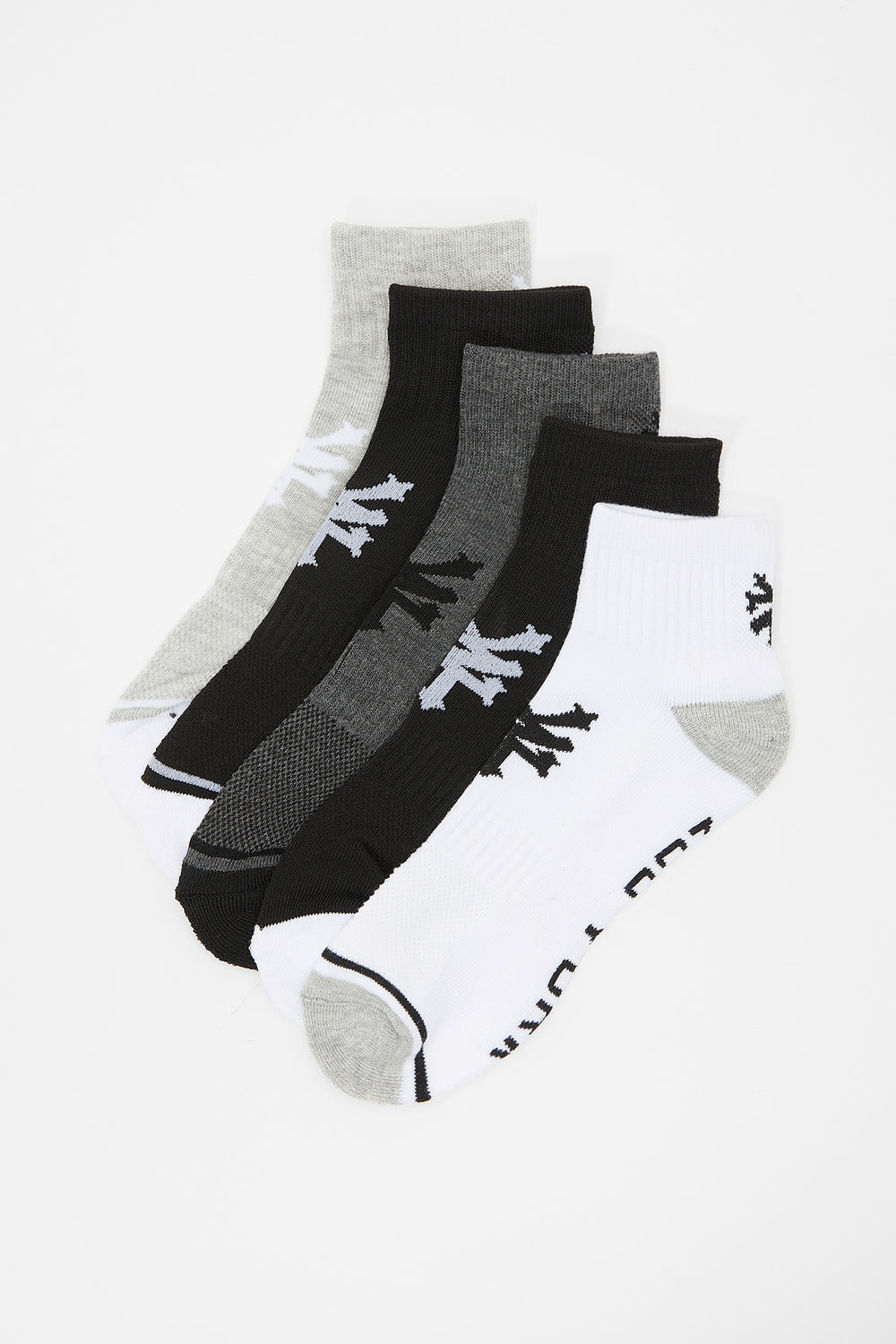 Zoo York Mens Ankle Socks 5-Pack Black with White