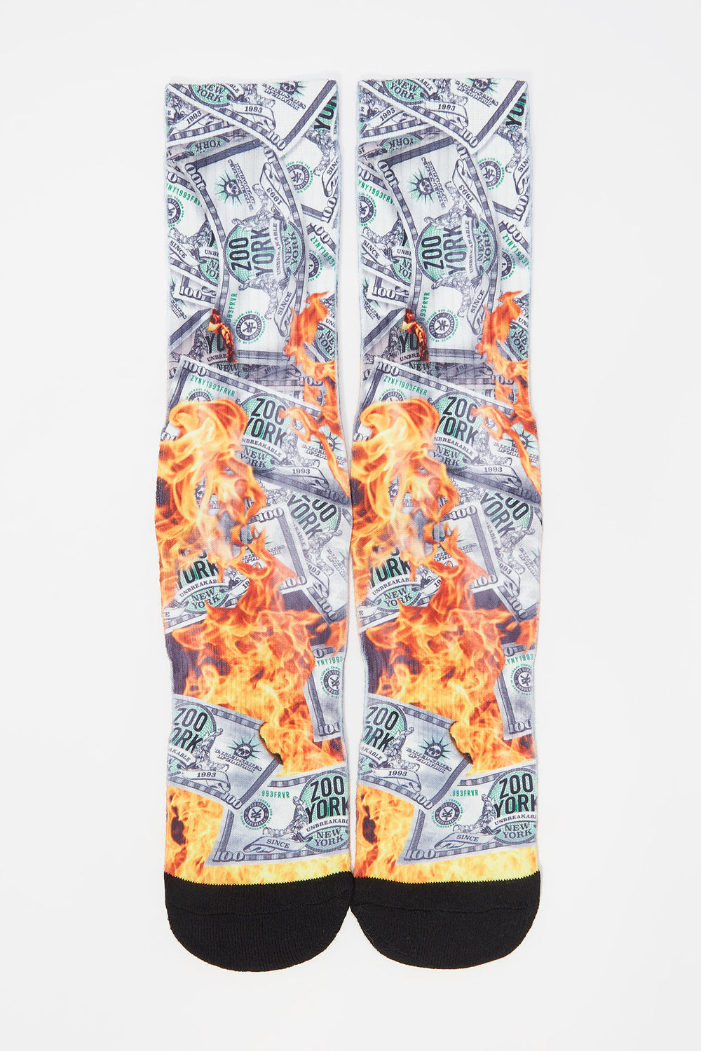 Zoo York Mens Dollar Bill Crew Socks Off White