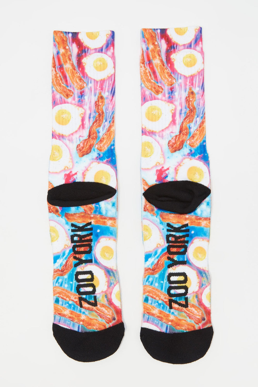 Zoo York Mens Egg and Bacon Crew Socks White
