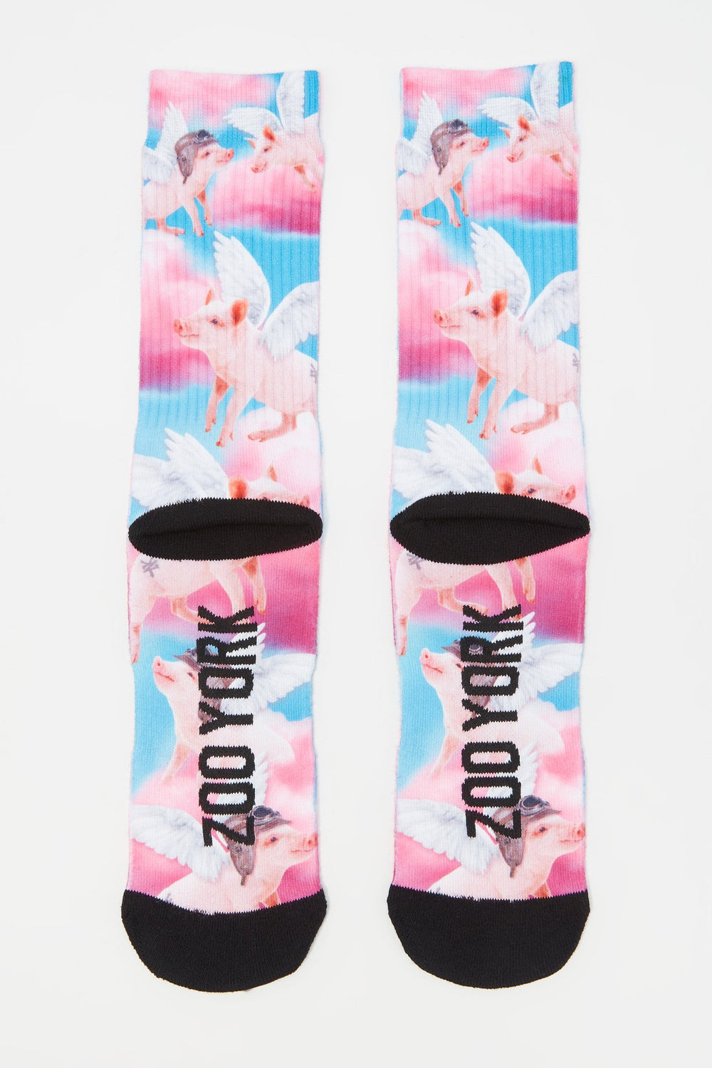 Zoo York Mens Flying Pig Crew Socks Rose