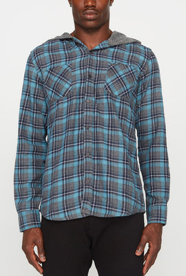 Mens Plaid Hooded Button-Up