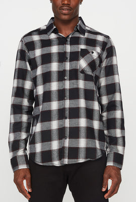 Mens Flannel Plaid Button-Up Shirt
