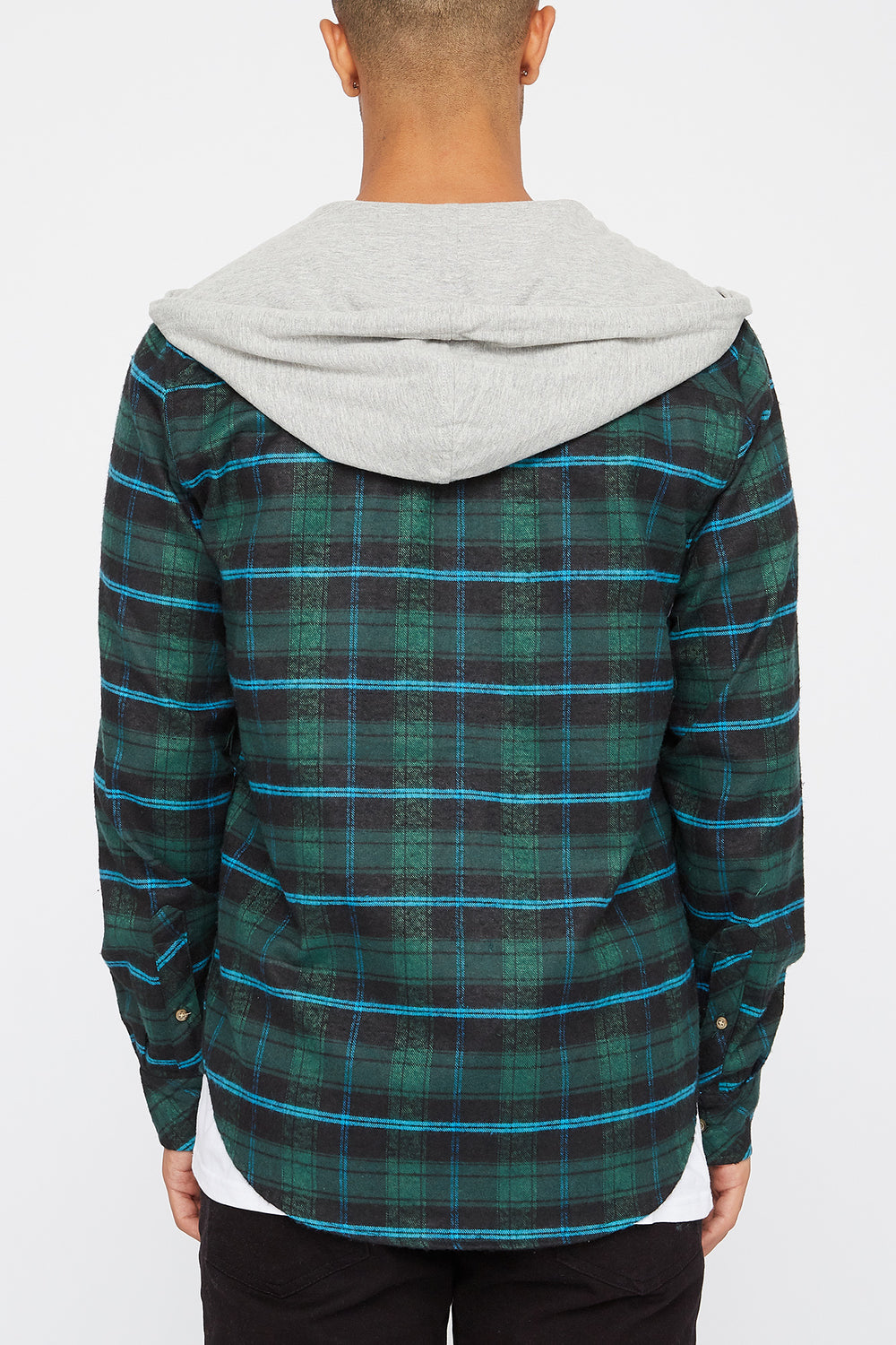 Mens Lightweight Plaid Hoodie Green