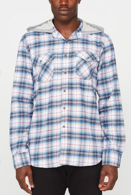 Mens Plaid Flannel Hooded Button-Up