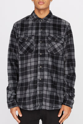 West49 Mens Fleece Plaid Button-Up Shirt