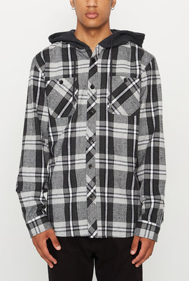West49 Mens Flannel Hooded Button-Up Shirt