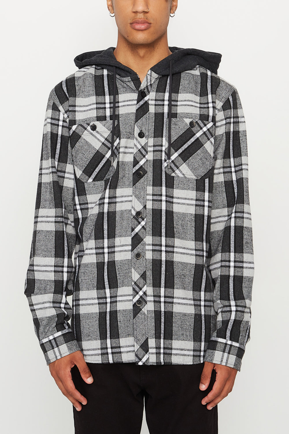 West49 Mens Flannel Hooded Button-Up Shirt Heather Grey