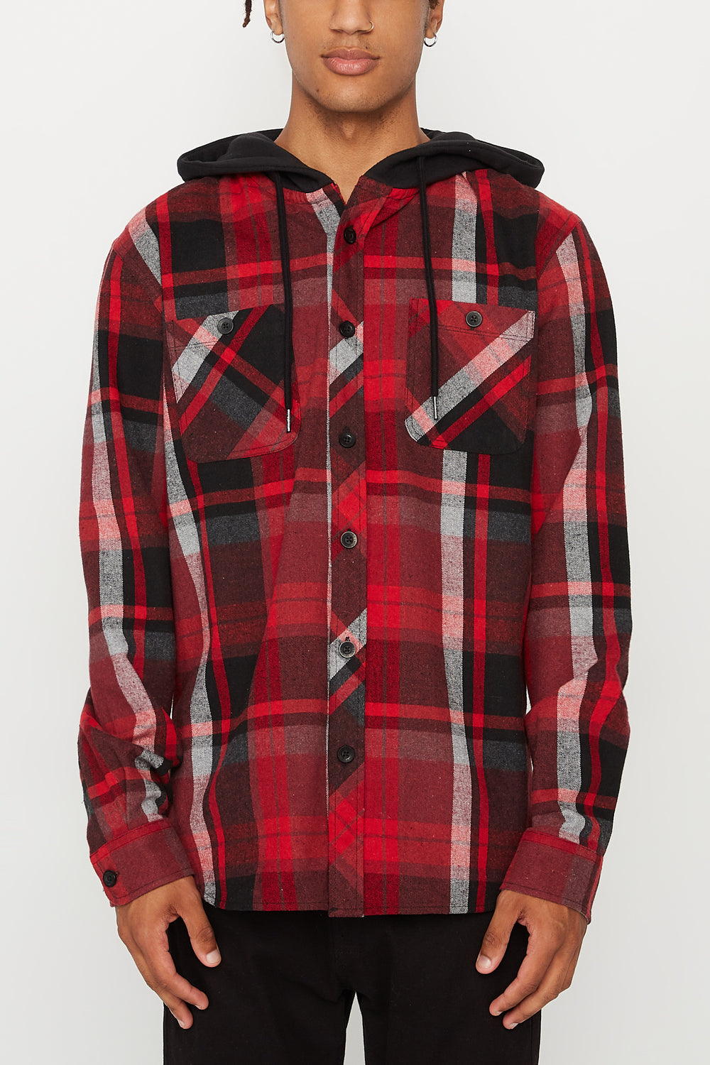West49 Mens Flannel Hooded Button-Up Shirt Red