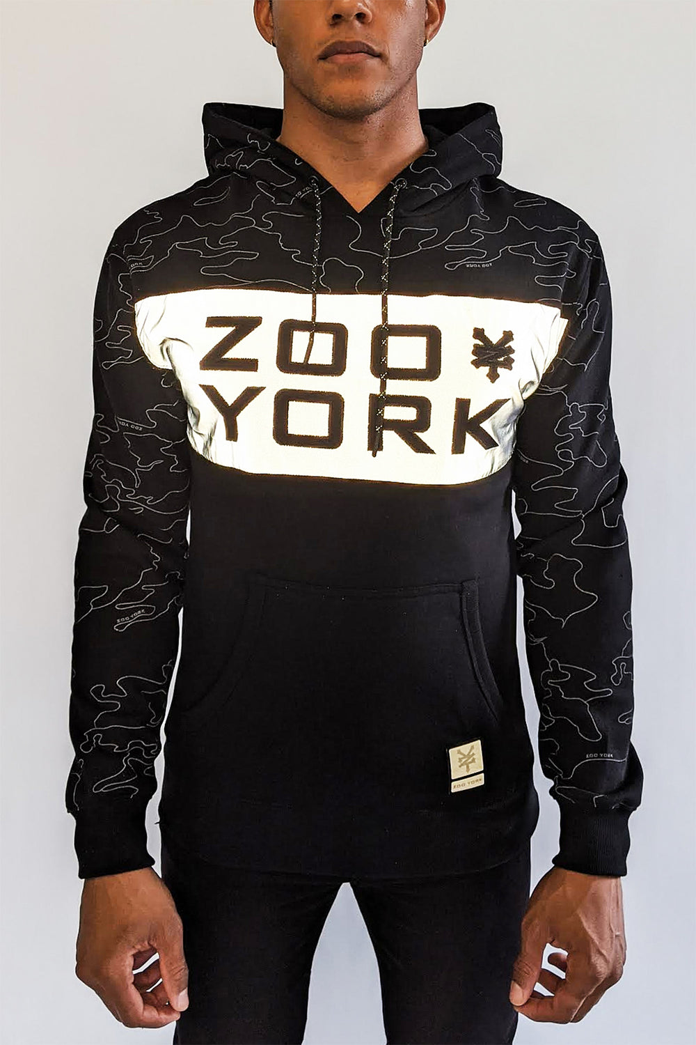 Zoo York Mens Reflective Colour Block Hoodie Black
