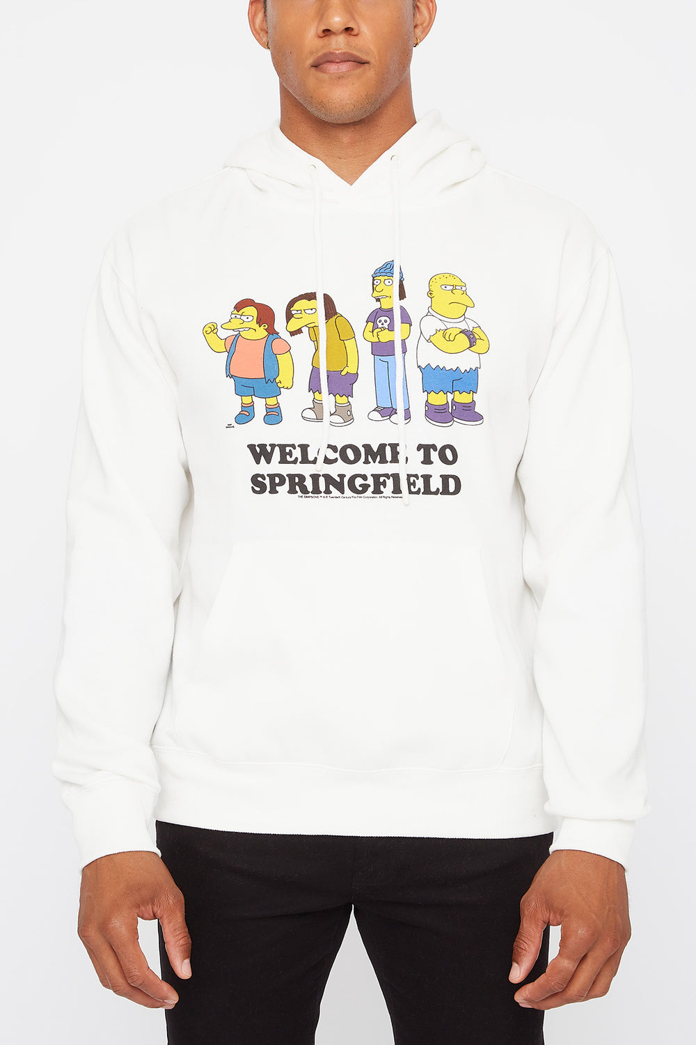 Welcome to Springfield Mens Graphic Hoodie Off White