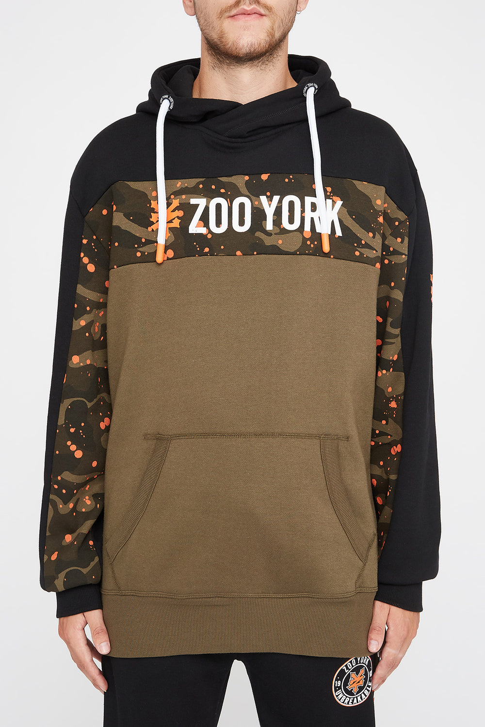 Zoo York Mens Splatter Camo Colour Block Hoodie Green