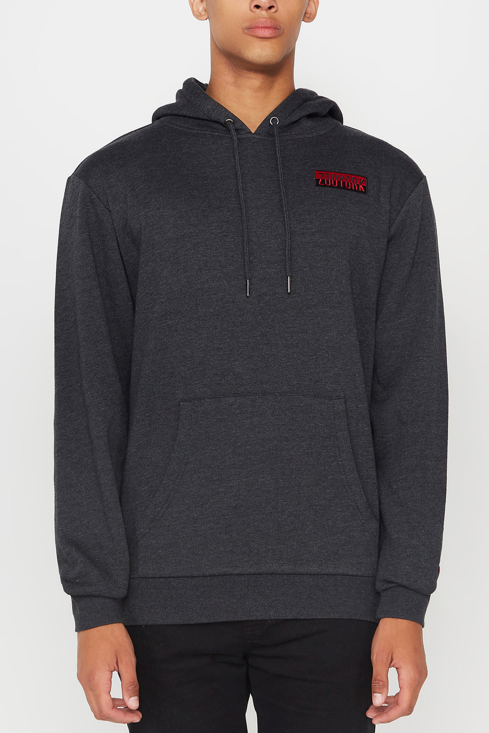 Zoo York Mens Two Tone Box Logo Hoodie Charcoal